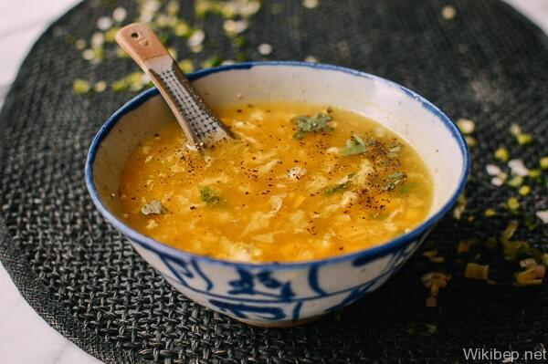 súp ngô chay trứng