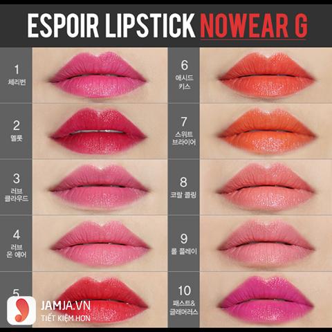 Bảng màu son Espoir Lipstick Nowear