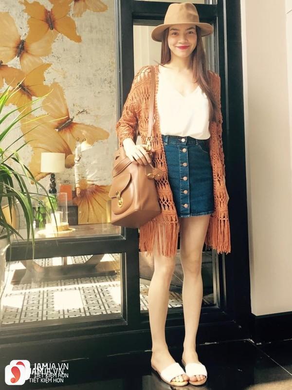Chân váy bò áo cardigan mỏng