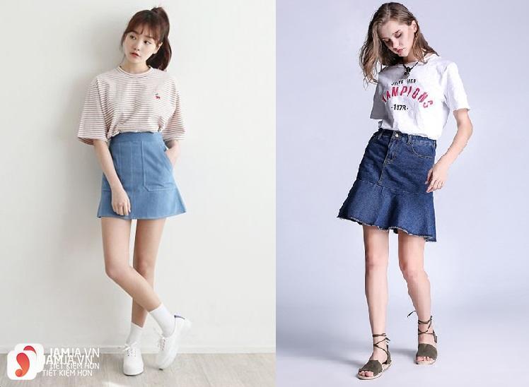 Chân váy Jeans mix cùng áo phông họa tiết