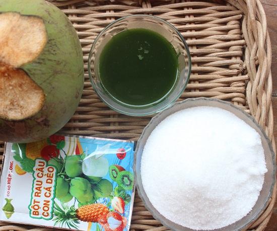 Đổ thạch rau câu nhiều lớp hương vị café lá dứa
