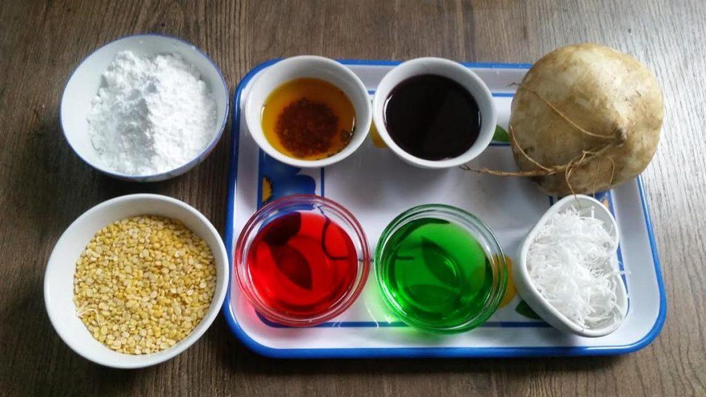Cách làm hạt lựu bằng bột năng không cần củ năng 1