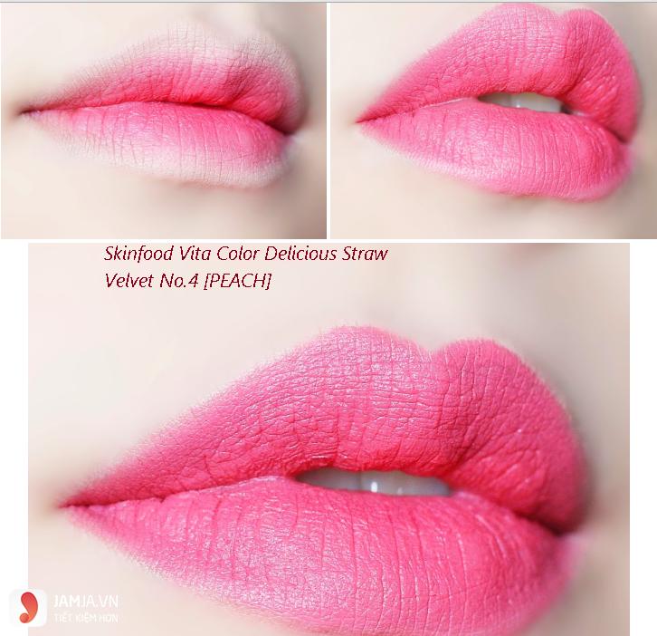 son môi màu hồng cánh đào-Son Skinfood Vita Color Delicious Straw Velvet no 4 Peach