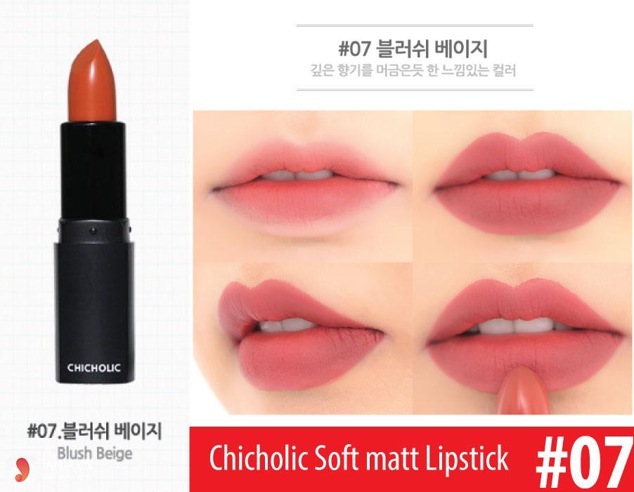 son môi màu hồng cánh đào-Son Chic Holic Soft Matte Lipstick 07 Blush Beige