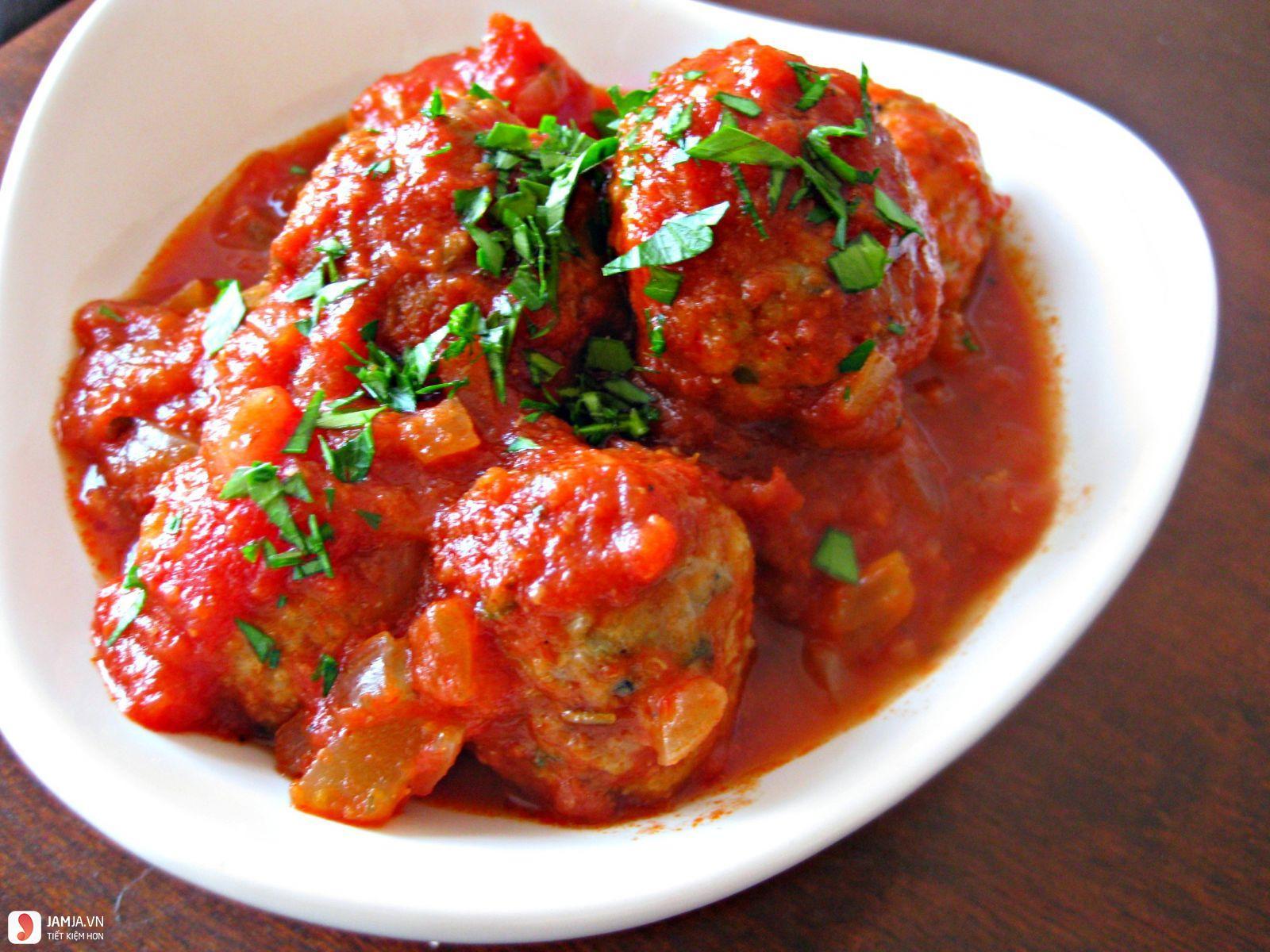 Thịt băm viên rán sốt cà chua-1