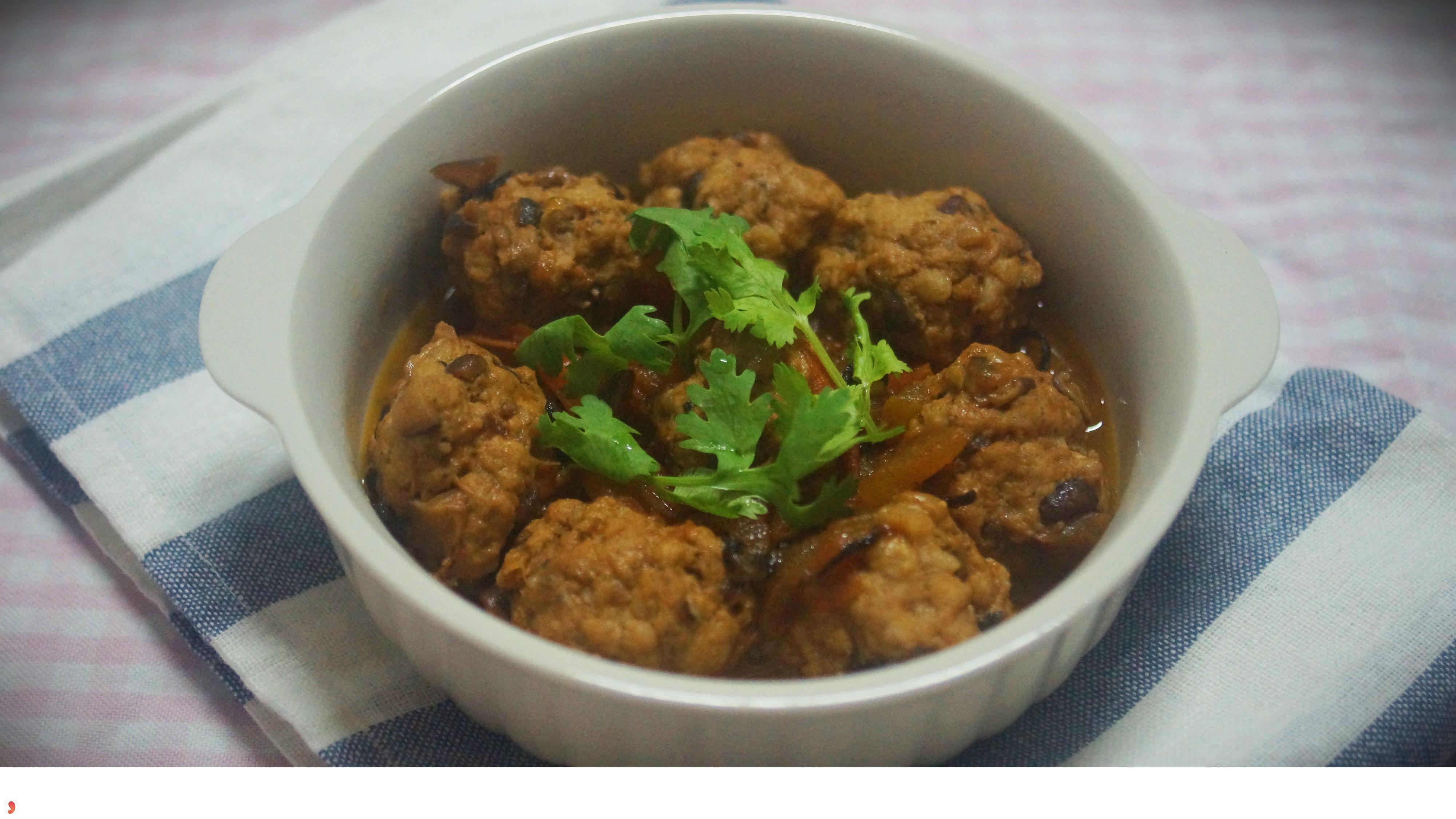 Thịt băm viên rán cải thảo và nấm-1
