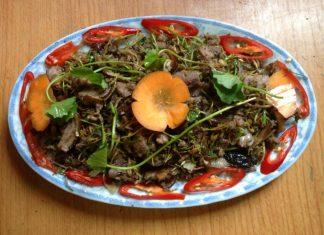 thịt mèo xào rau má