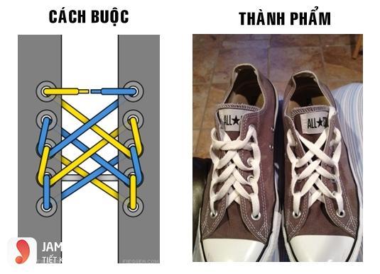 Cách xỏ dây giày 5 lỗ kiểu mạng nhện