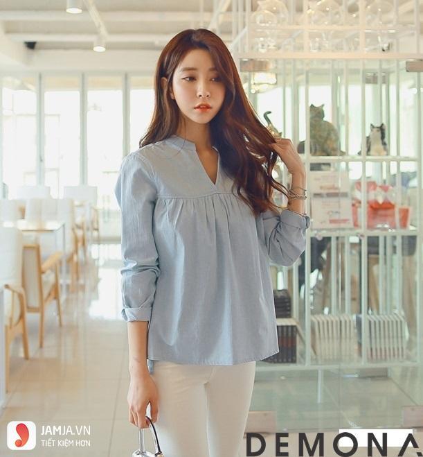 Các kiểu áo sơ mi nữ Hàn Quốc dễ thương2