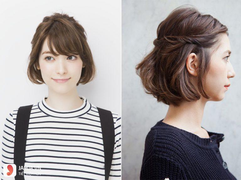 các kiểu tóc buộc ngắn với Bện lệch mái