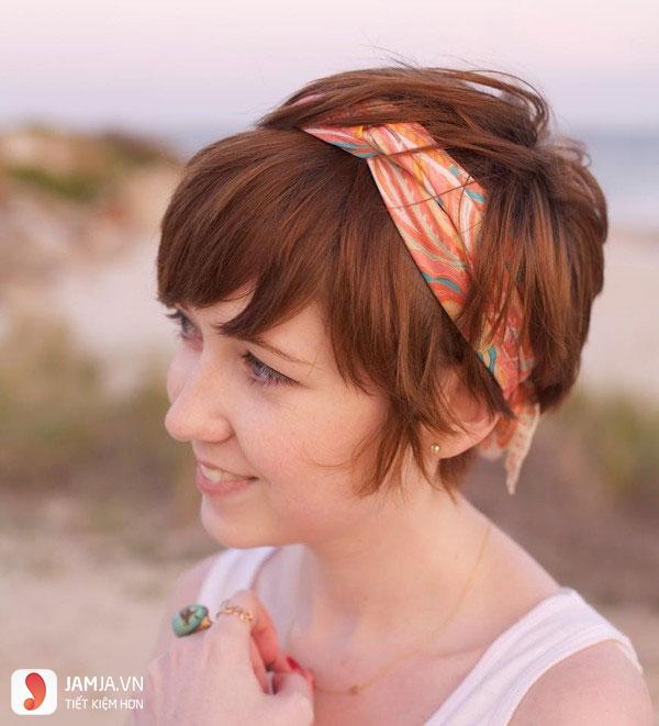 các kiểu tóc buộc ngắn với Khăn tuban