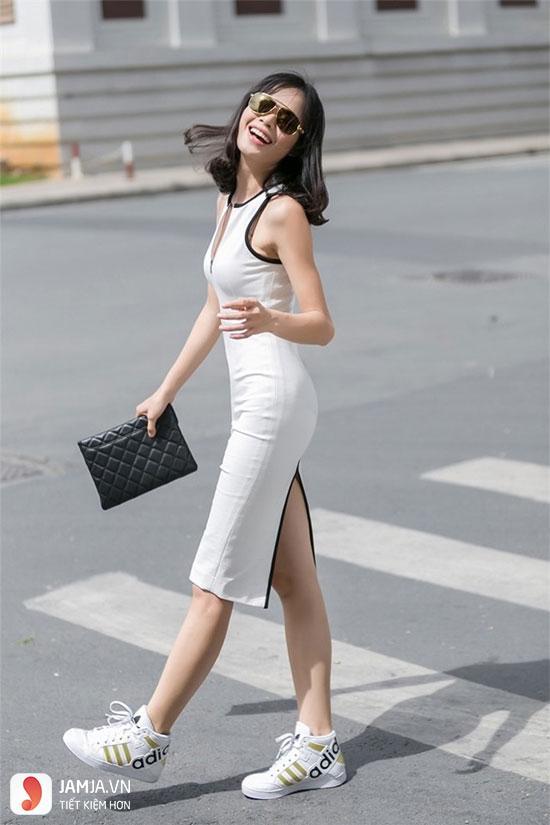 cách kết hợp giày thể thao với váy 4