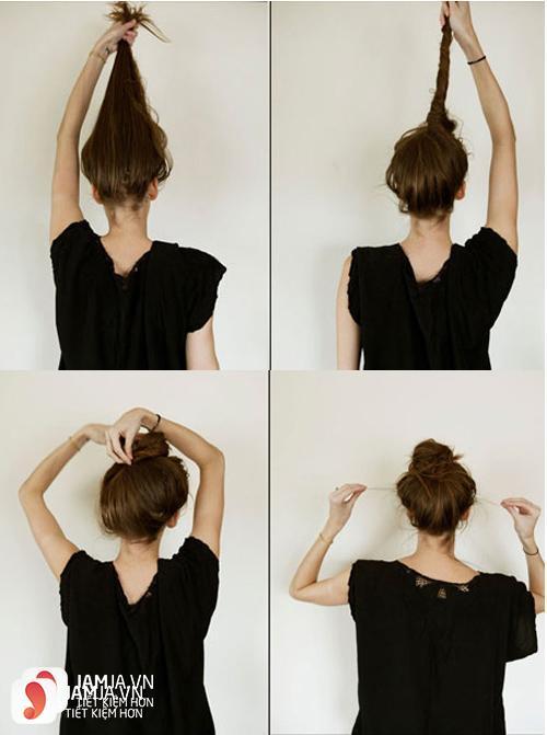 Làm tóc xoăn bằng cách búi tóc