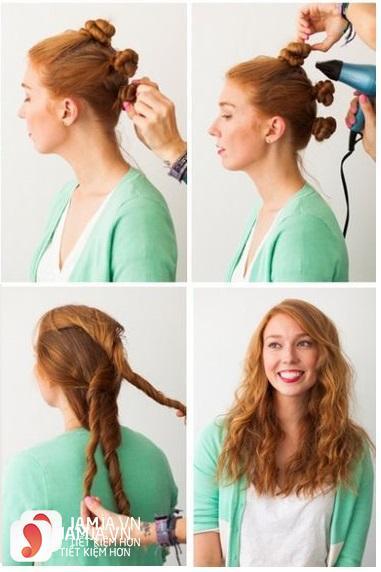 Làm tóc xoăn bằng cách xoắn ốc sên