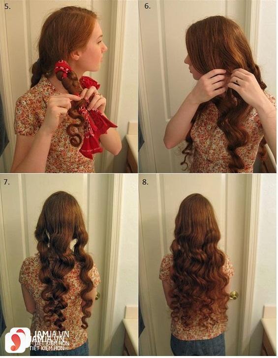 Làm tóc xoăn bằng khăn tay