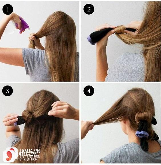 Làm tóc xoăn bằng tất - 1