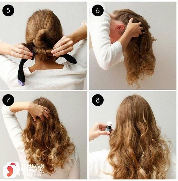 Làm tóc xoăn bằng tất - 2