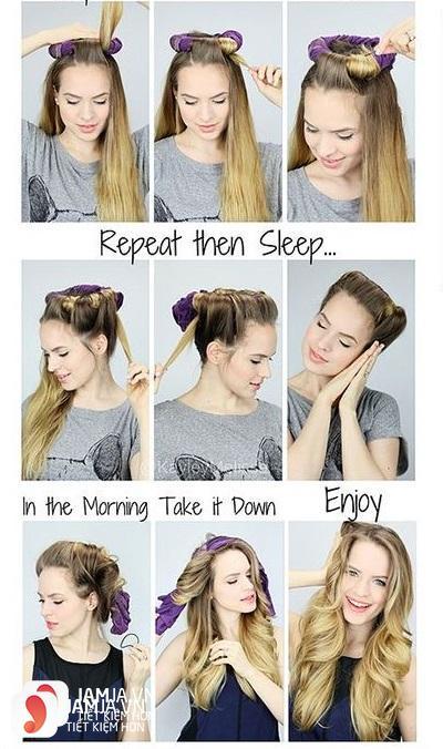 Làm tóc xoăn đuôi bằng áo thun cũ