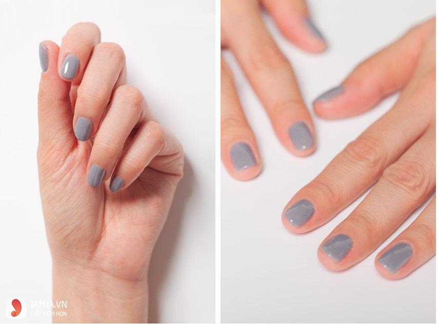 màu sơn móng tay hợp với da ngăm-màu xám