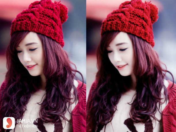 Những kiểu nhuộm tóc màu nâu đỏ ánh tím đẹp4