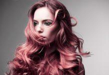 nhuộm tóc màu tím đỏ ánh hồng đào