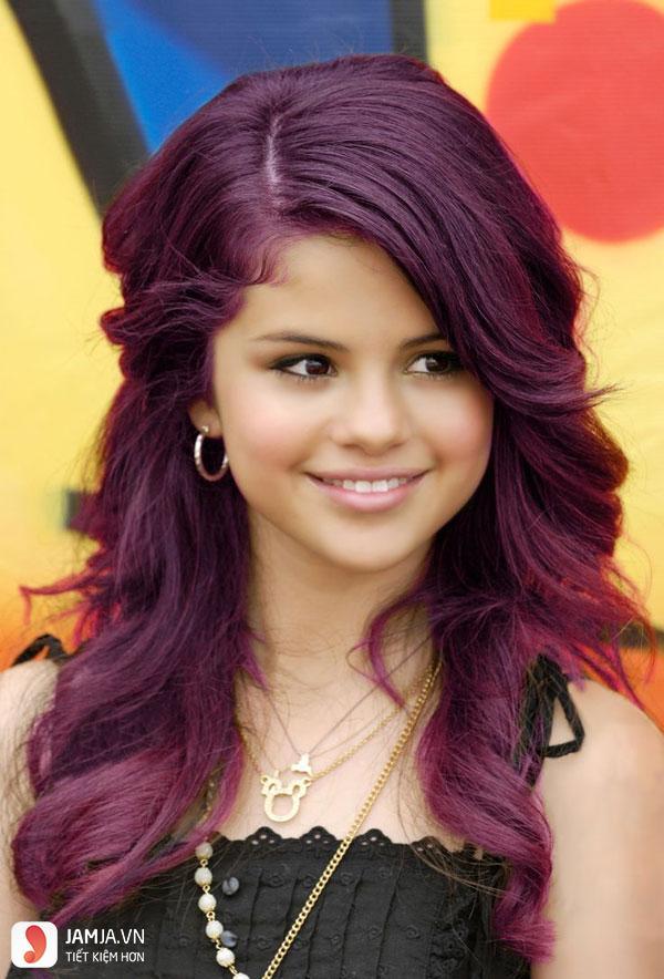 Các mẫu tóc nhuộm màu tím trầm đẹp4
