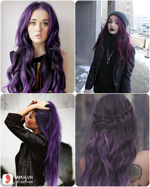 Các mẫu tóc nhuộm màu tím trầm đẹp5