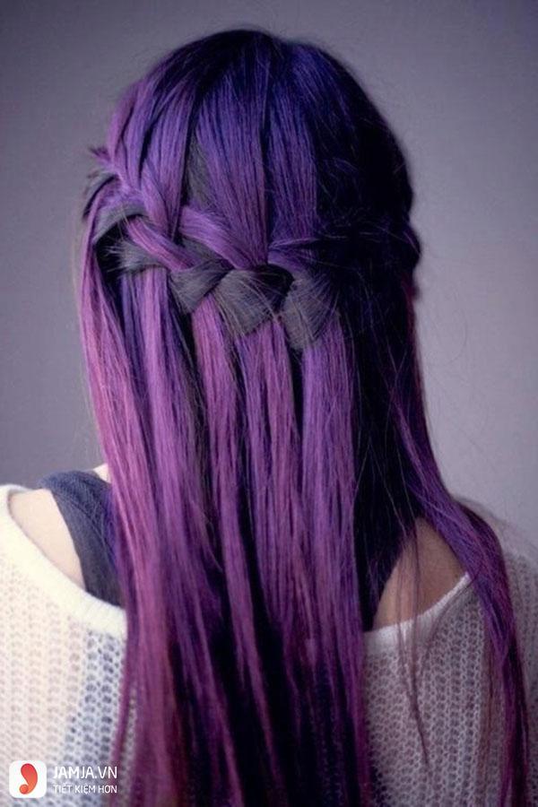 Các mẫu tóc nhuộm màu tím trầm đẹp