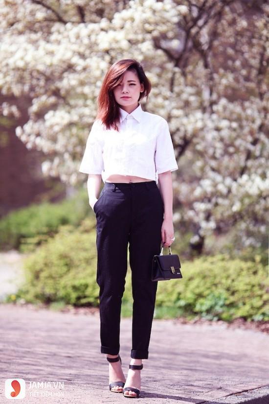 quần baggy vải mix với áo crop-top-2
