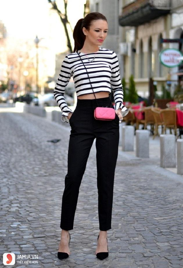 quần baggy vải mix với áo crop-top