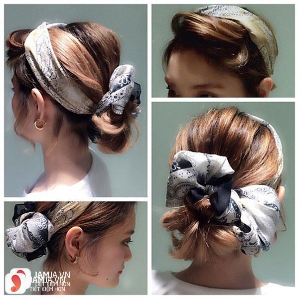 Búi tóc cùng khăn turban