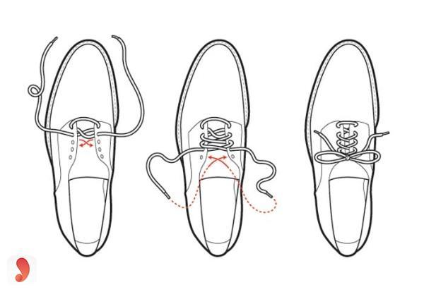 Cách buộc dây giày 3 lỗ 2