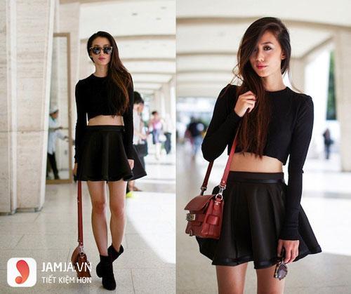 Áo croptop ôm body và chân váy xòe đen