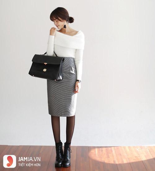 Chân váy xòe xám mặc với áo gì - 2