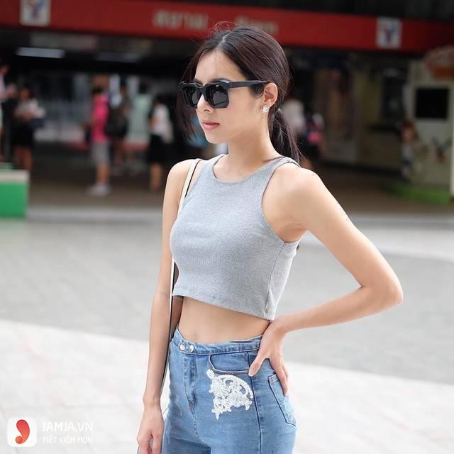 Cách phối đồ với quần jean lưng cao 1