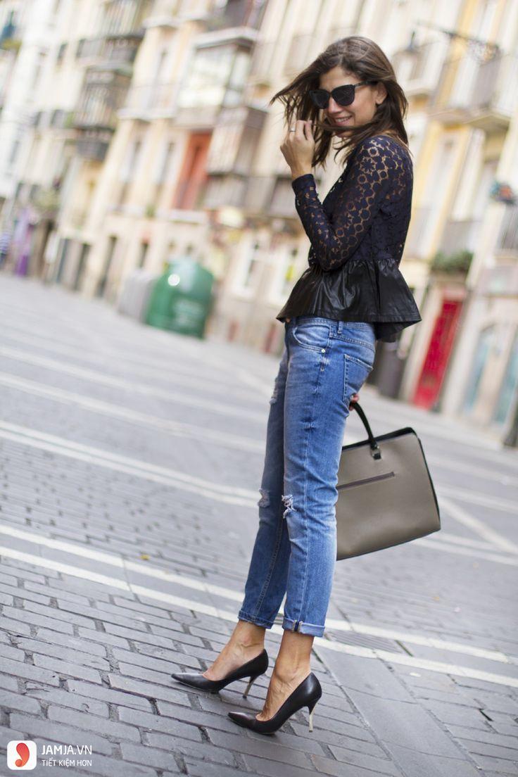 Quần jeans kết hợp áo peplum