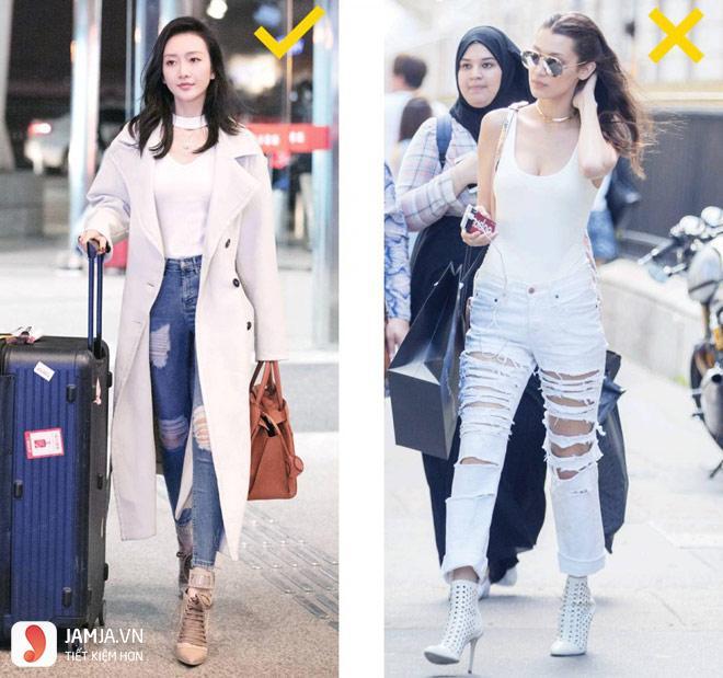Cách phối quần jean rách với giầy