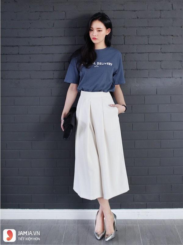quần culottes mặc với áo gì 1