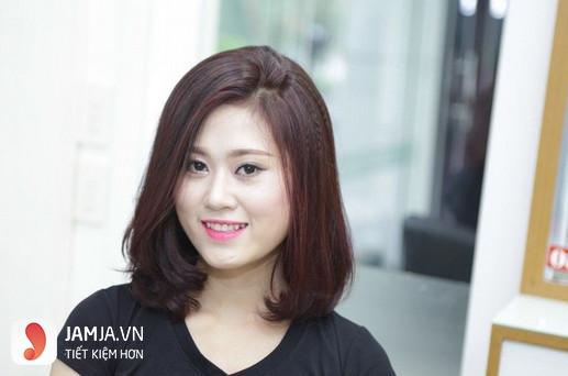 tóc mái dài hợp với khuôn mặt tròn