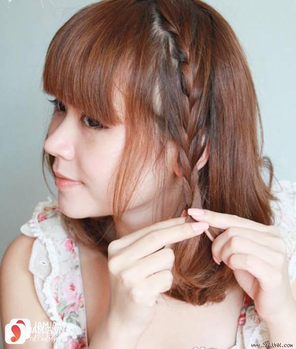 Tóc ngắn tết tóc mai