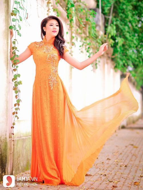 áo dài màu cam cà rốt 4