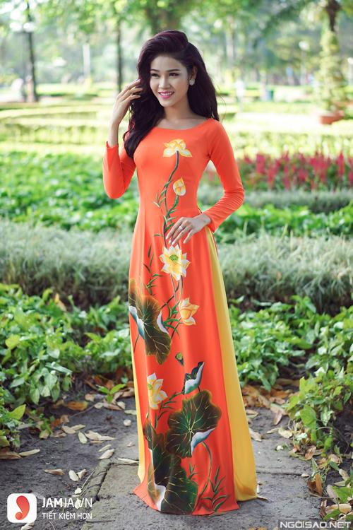 áo dài màu cam cà rốt 1