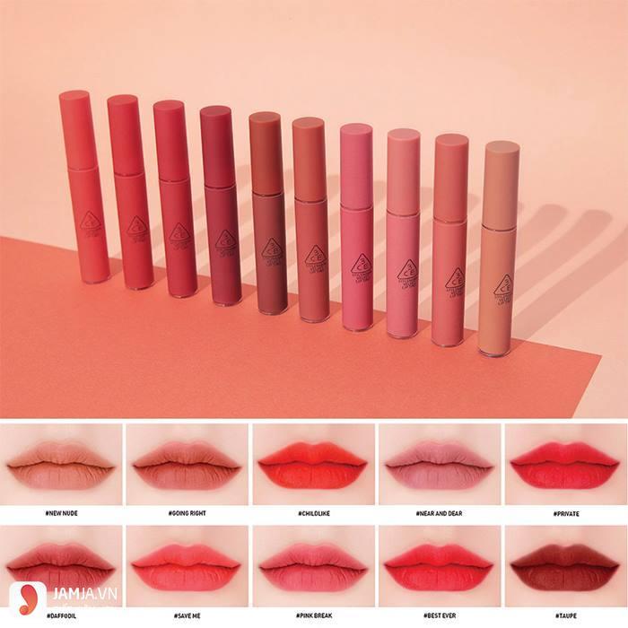 Bảng màu son 3CE Velvet Lip Tint 1