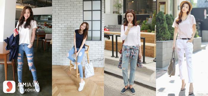 Cách phối áo thun với quần jean cho nữ 1