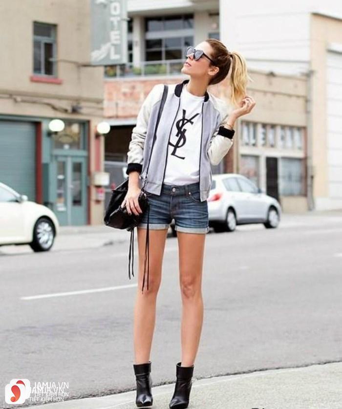 Cách phối đồ với quần jean ngắn 2