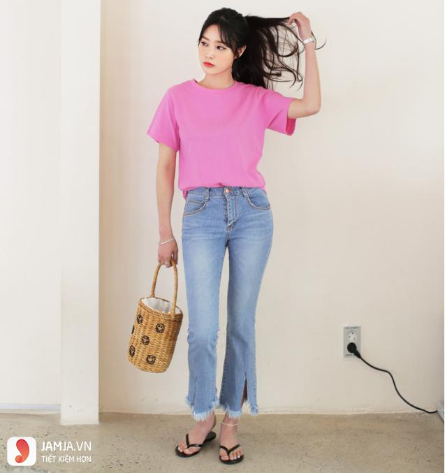 Cách phối đồ với quần jean nữ áo phông 1