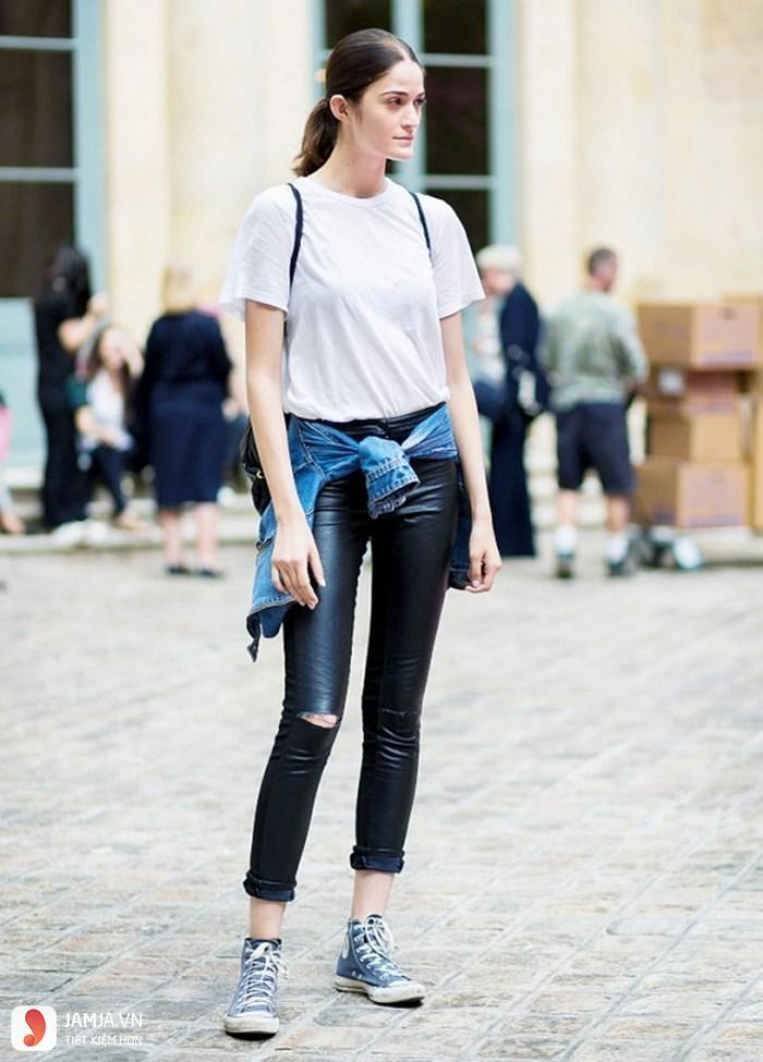 Cách phối đồ với quần jean nữ áo phông 2