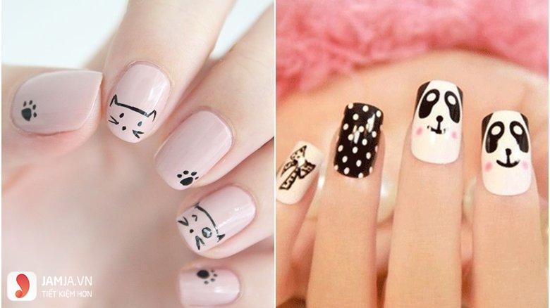 Mẫu nail in hình dễ thương