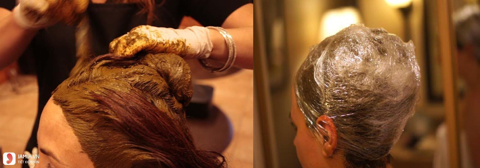 Nhuộm tóc nâu đen bằng lá móng 2