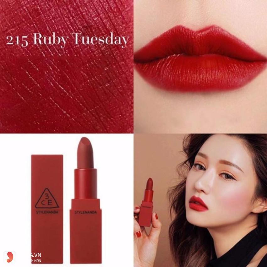 Son 3CE Red Recipe Matte Lip Color #215 Ruby Tuesday 3